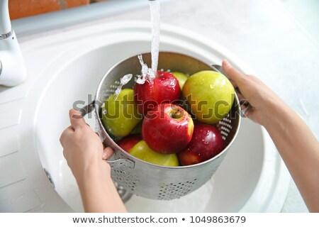 nat · rode · appel · detail · donkere · Maakt · een · reservekopie · Rood - stockfoto © digifoodstock