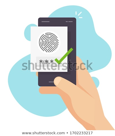 Smart Phone With Thumb And Fingerprint Identification Stock photo © albund