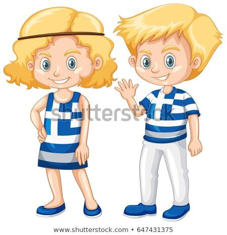 Fille pavillon shirt illustration enfants Photo stock © bluering