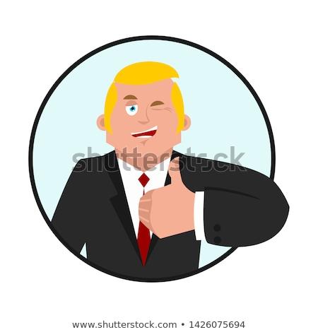 Businessman thumbs up. Boss winks emoji. business men cheerful.  Stock photo © popaukropa