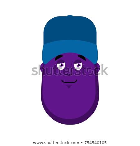 Patlıcan tesisatçı mavi kapak avatar mutlu Stok fotoğraf © popaukropa
