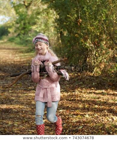 Stock fotó: Lány · hordoz · tűzifa · vidéki · lány · vidék · gyermek