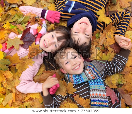 three friends lying on autumn leaves stock photo © is2