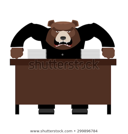 Angry Boss bear scolds. Wicked head yelling at staff. Vector ill Stock photo © popaukropa