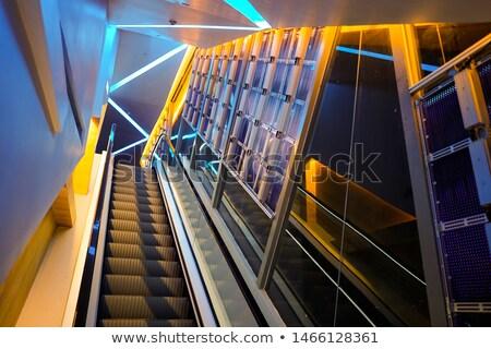 Zdjęcia stock: Blue Escalator Background