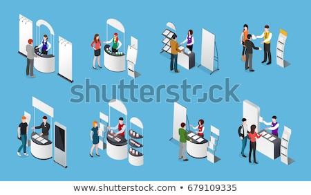 情報 スタンド 展示 アイソメトリック 3D ストックフォト © studioworkstock
