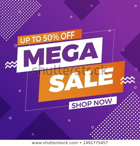 Mega sale banner template in trendy style Stock photo © studioworkstock
