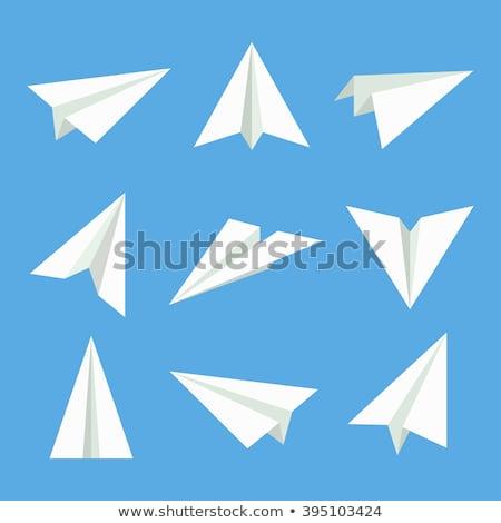 синий · бумаги · плоскости · набор · изолированный · белый - Сток-фото © foxysgraphic