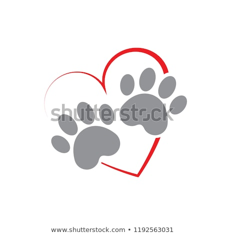 I Love Dog With Red Heart Paw Print Logo Design Stock photo © hittoon