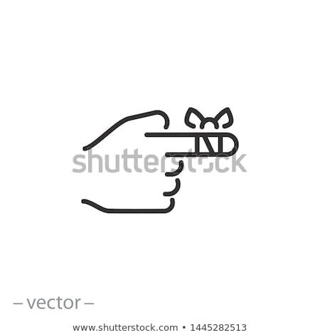 Sebesült ujj bandázs fájdalmas fehér fiatal Stock fotó © CsDeli