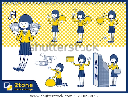 iskolás · lány · pénz · lány · iskola · nők - stock fotó © toyotoyo