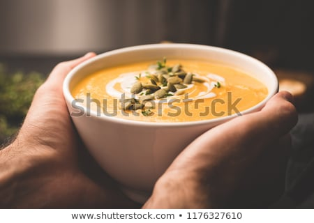 pumpkin soup with vegetables on napkin stock photo © dash