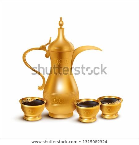 coffee in golden tableware vector illustration stock photo © robuart
