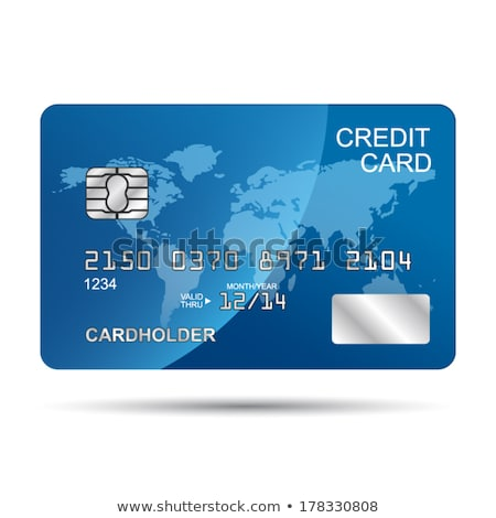 gold and blue credit card with world map   isolated on white wit stock photo © kayros