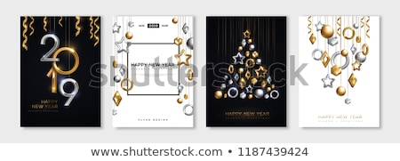 New Year 2019 Party Celebration Poster Template Illustration with Pine Branch and Lights garland on  Stock photo © articular