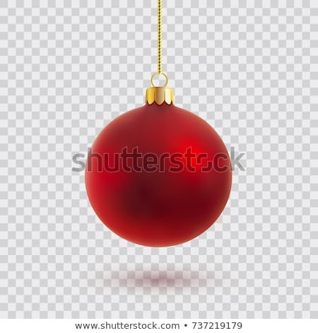 Red Christmas ball. Xmas glass ball on transparent background. Holiday decoration template. Vector i Stock photo © olehsvetiukha