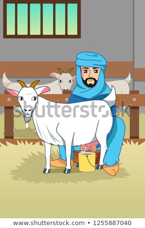 Muslim Farmer Milking His Goats at Barn Illustration Stock photo © artisticco