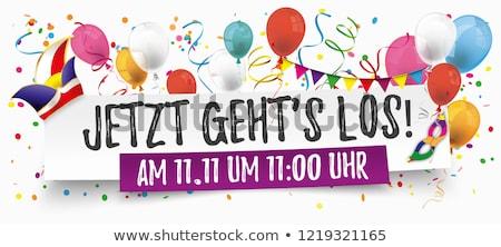 Jetzt Gehts Los Paper Banner Balloons Jesters Cap 11 November Stock photo © limbi007