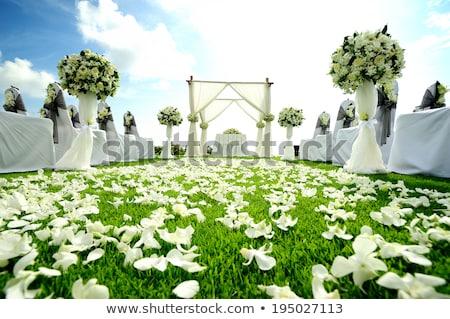 Foto d'archivio: Cerimonia · di · nozze · decorazione · mare · tramonto · legno · sedie