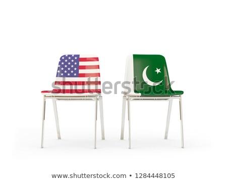 Kettő székek zászlók Pakisztán izolált fehér Stock fotó © MikhailMishchenko