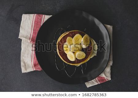 Heerlijk chocolade eigengemaakt pannenkoeken zwarte keramische Stockfoto © dash