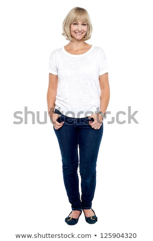 full length portrait of a smiling blonde woman stock photo © deandrobot