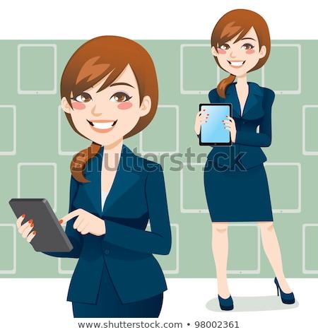 güzel · iş · kadını · ofis · kadın · dizüstü · bilgisayar · cep · telefonu - stok fotoğraf © rastudio