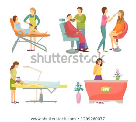 Spa Salon Visagiste and Barber Icons Set Vector Stock photo © robuart