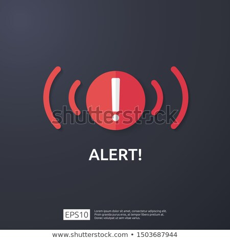attention warning attacker alert shield sign with exclamation mark. beware alertness of internet dan stock photo © kyryloff