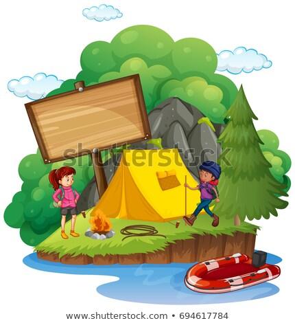szablon · charakter · ilustracja · niebo · krajobraz - zdjęcia stock © colematt