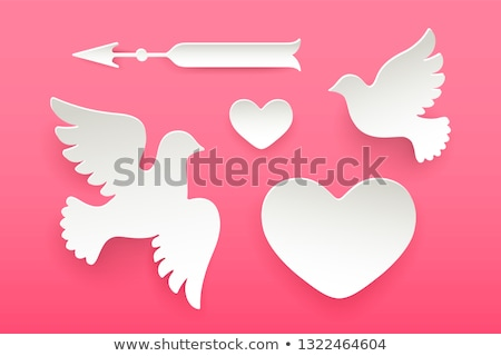 set of paper objects heart pigeon bird arrow stock photo © foxysgraphic