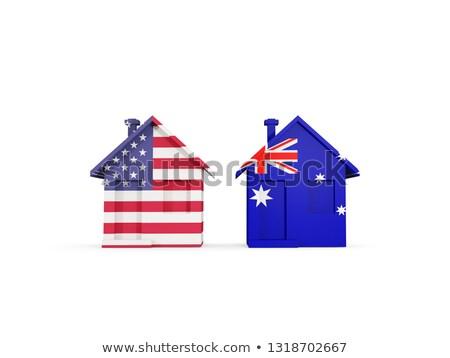 Dois casas bandeiras Estados Unidos Austrália isolado Foto stock © MikhailMishchenko
