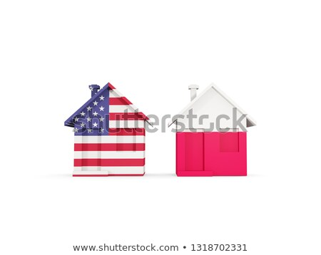Dois casas bandeiras Estados Unidos Polônia isolado Foto stock © MikhailMishchenko