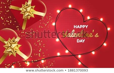 Valentin · nap · nap · vásár · szalag · vektor · 14 - stock fotó © frimufilms