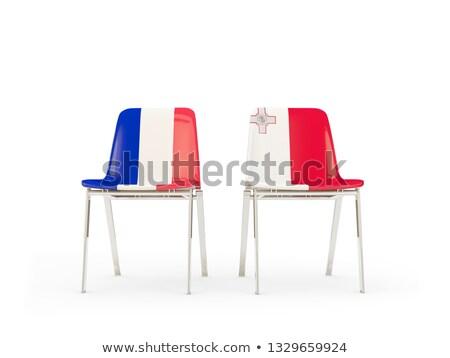 Dwa krzesła flagi Francja Malta odizolowany Zdjęcia stock © MikhailMishchenko