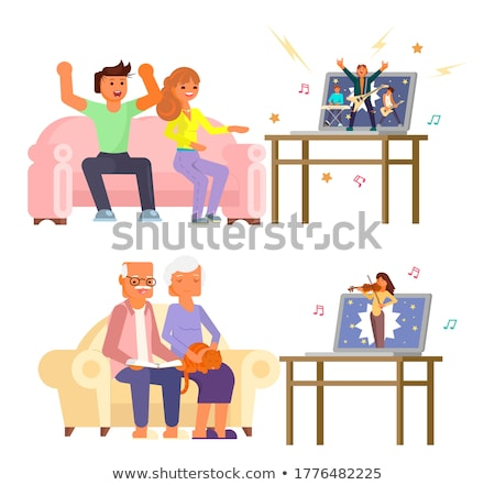 online streaming laptop icon cartoon vector art Stock photo © vector1st
