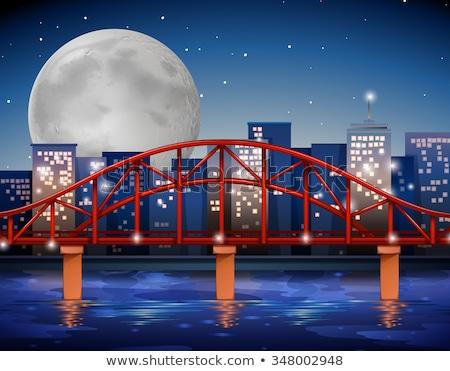 Cena noturna ponte ilustração água paisagem fundo Foto stock © colematt