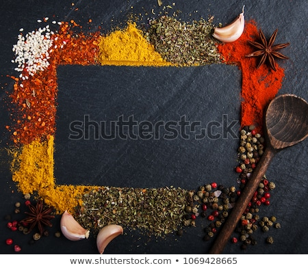 Seasoning background. Spice and herb seasoning with fresh and dried stok fotoğraf © Illia
