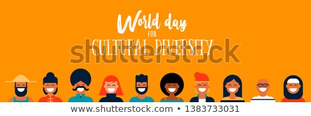 Culture Diversity Day web banner of diverse people icons Stock photo © cienpies