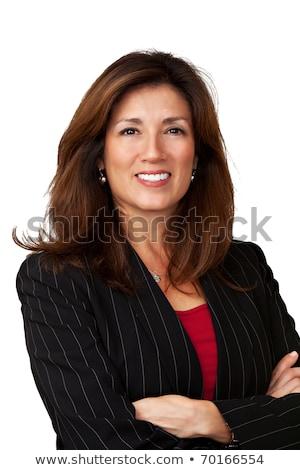 Alleen business portret witte blouse zwarte rok Stockfoto © ElenaBatkova