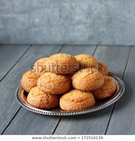 Hollanda badem kurabiye Metal plaka tablo Stok fotoğraf © Melnyk
