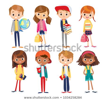 Ingesteld kinderen studeren illustratie computer boek Stockfoto © colematt