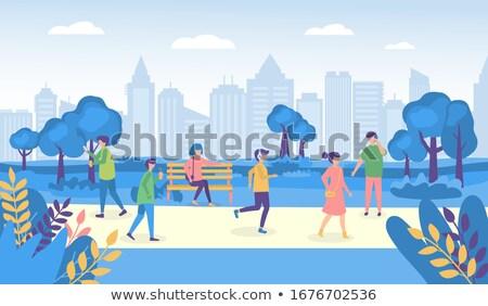 men going in city park outdoor activity vector stock photo © robuart