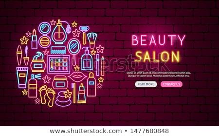 Schoonheidssalon neon banner ontwerp cosmetica promotie Stockfoto © Anna_leni