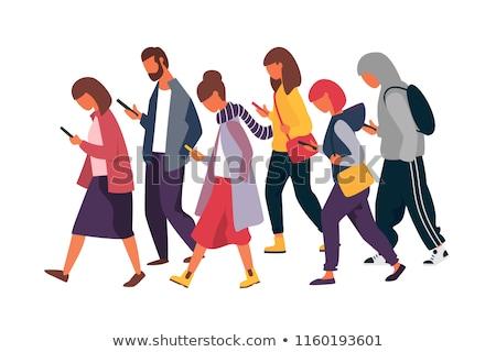 messenger · personnes · téléphones · homme · femme - photo stock © robuart