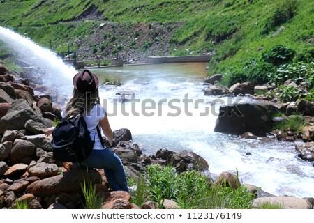 Meisje cowboyhoed geïsoleerd zwarte vrouw Stockfoto © diomedes66