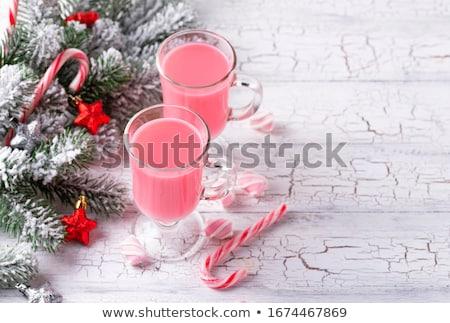 Rózsaszín karácsony koktél mályvacukor cukorka sétapálca Stock fotó © furmanphoto