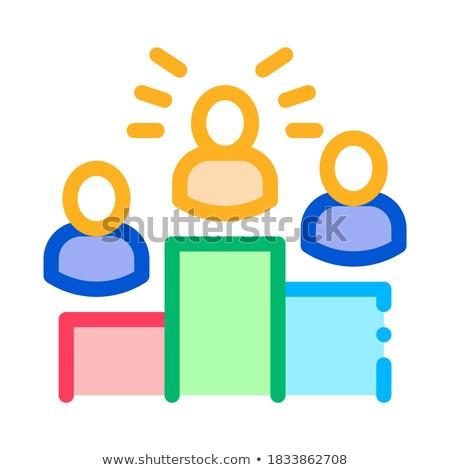 Stockfoto: Winners Podium Human Talent Icon Vector Illustration