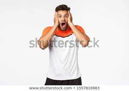 Megrémült szótlan jóképű férfi atléta sportok Stock fotó © benzoix