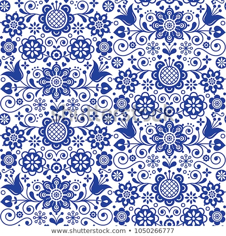 Scandinavian floral folk art vector seamless design, cute Nordic pattern with birds in red on white  Stock photo © RedKoala